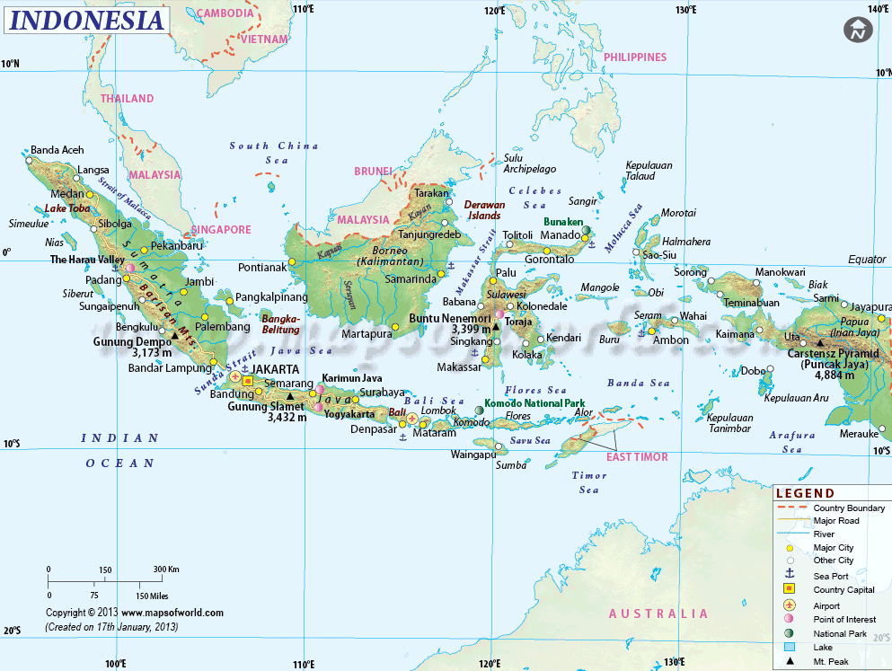 Negara-negara yang berbatasan dengan Indonesia asli