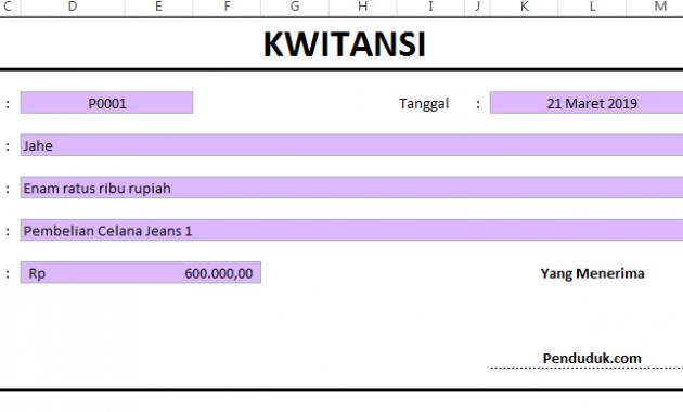 Hasil Membuat Kwitansi di Excel